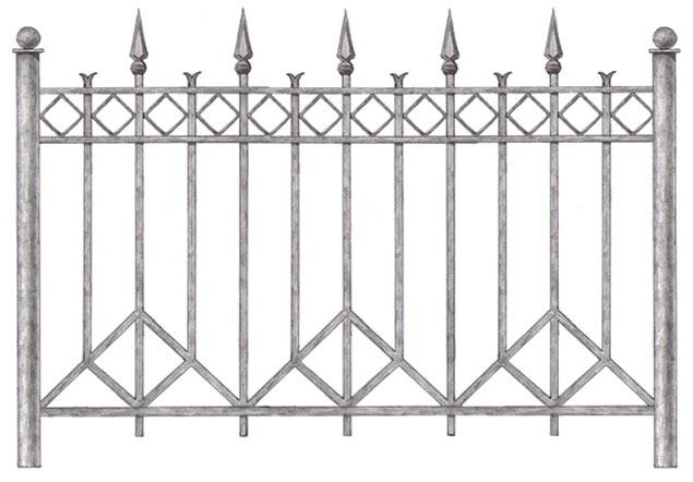 сварной металлический забор с коваными элементами