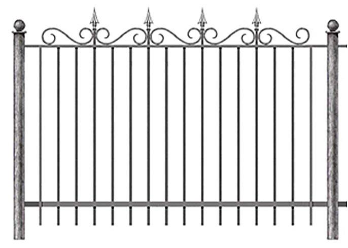сварной забор с коваными пиками