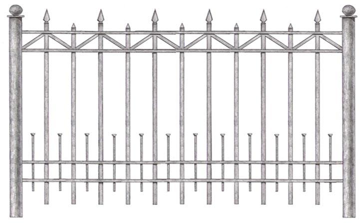 сварной забор с коваными элементами